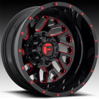Литые дуальные диски Fuel Off-Road Triton Dually Rear Gloss Black w/Candy Red
